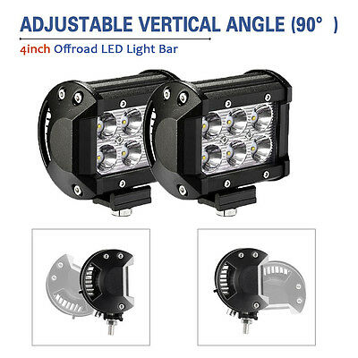 2x 4inch 18W CREE LED Work Light Bar 4WD Fog Truck Offroad SUV Ford Driving Lamp