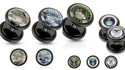Set 2 Fakeplugs ARMY CAMOUFLAGE Fake Plug Tunnel Piercing Ohrstecker Ohrring