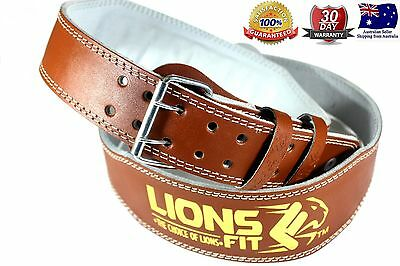 "Lions Fit 4""wide Brown Colour Split Leather Weightlifting Bodybuilding Gym Belt"