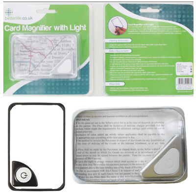 Credit Card Magnifying Glass With LED Compact Silver Border Reading Magnifier