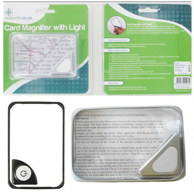 LED Reading Magnifier Credit Card Magnifying Glass Compact Silver Border Handy
