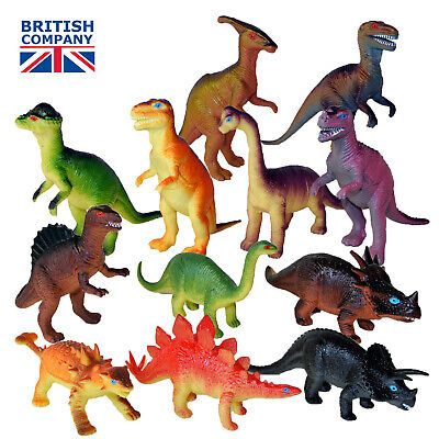 "Plastic dinosaurs 6"" toy animal figures T-rex set of 12 - buy direct and save £"