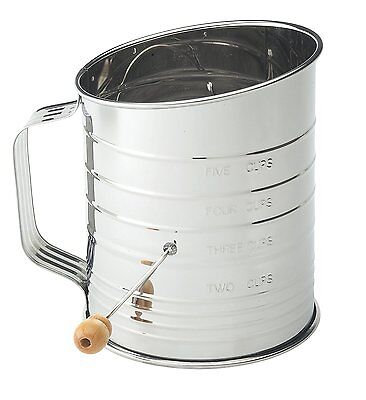 Mrs. Andersons Baking Hand Crank Flour Icing Sugar Sifter, Stainless Steel,