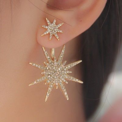 1Pair Gold Double Star Dangle Ear Studs Lady Crystal Rhinestone Earrings Jewelry