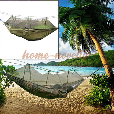 Travel Outdoor Camouflage Green Camping Tent Hanging Hammock Sleeping Bed w Sack