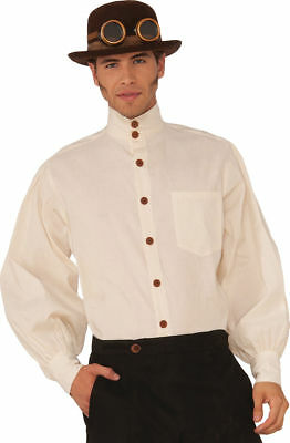 Morris Costumes Men's New Long Sleeve Steampunk Beige Shirt One Size. FM76371