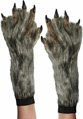 Morris Costumes Hands Werewolf Adult Fur Gloves Brown Grey One Size. FM60913
