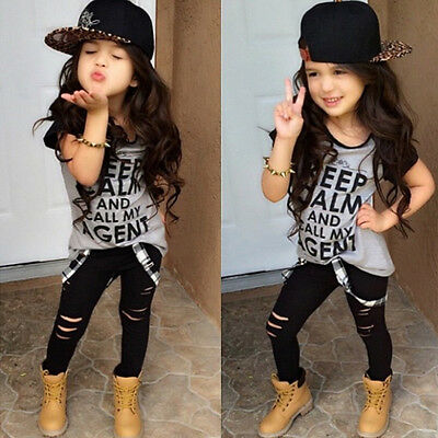 2pcs Toddler Infant Baby Girl T-shirt Tops+Pants Trousers Outfit Clothes Set New