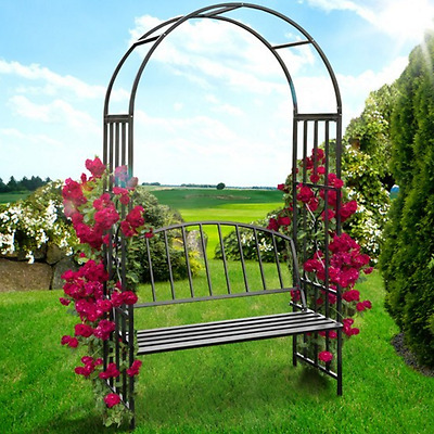 Garden Arbour Arch And Bench Steel Frame 2m High