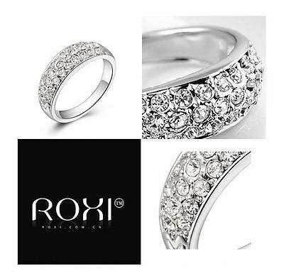 ROXI 925 Sterling Silver Diamond Cluster Ring Band Wedding / Engagement