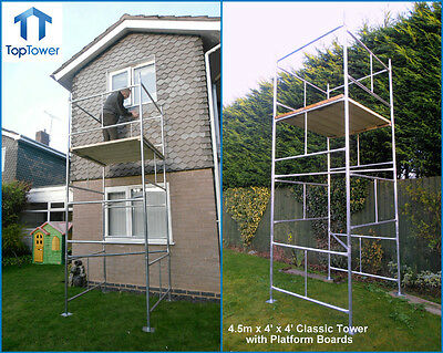 "4.65m DIY Scaffold Tower & Boards (4' x 4 'x 15'3"" WH) Galvanised Steel Towers"