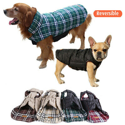 PC10 Waterproof Dog Plaid Jacket Reversible Winter Coat Clothes Costume Outfit