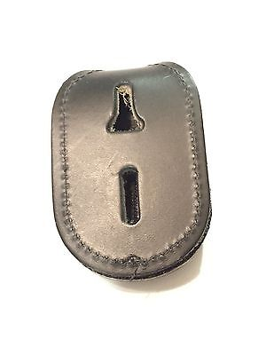 Police Badge Holder Leather Oval with Velcro and Clip