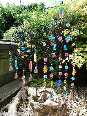 Fair Trade Hand Made Indian Metal Owl ButterflyWind Chime Windchime Bells Mobile