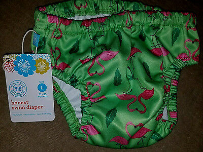 THE HONEST COMPANY Green Pink Flamingo Swim Diaper Large 21-35 lbs New NWT