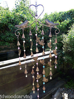 Hand Made Large Indian Recycled Metal Birds Garden Bells Wind Chime Mobile