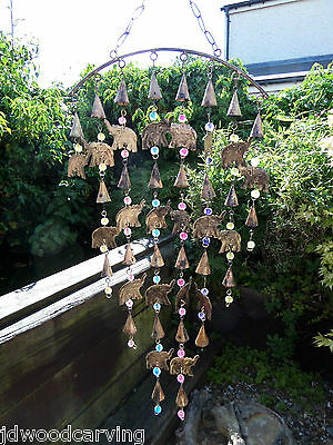 Hand Made Large Indian Recycled Metal Elephant Garden Bells Wind Chime Mobile