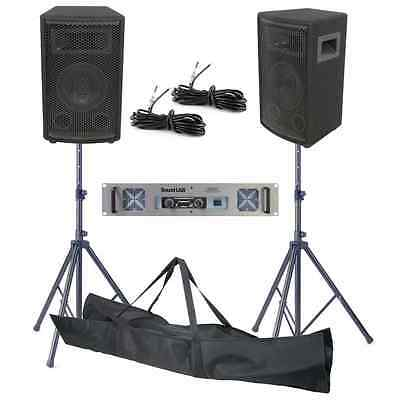 "QTX 6"" Inch 200W DJ PA Disco House Party Speaker Amplifier Kit With Stands BNIB"