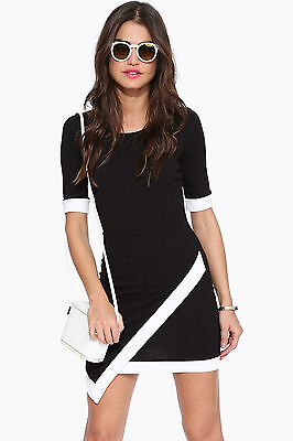 Abito cono aperto nudo maniche corte Mini Bandage Asymmetric Bodycon Club dress