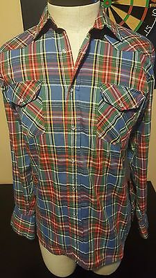 Vintage 80s Western Fashions Long Sleeve Pearl Snap Shirt Cowboy Red Blue 033
