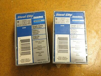 """Steel City T11-2 Weather Proof Single Gange Outlet Box 4 1/2"""" Hubs New"""