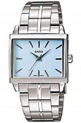 Casio LTP1334D-2A Ladies Silver Stainless Steel Quartz Watch with Blue Dial NEW
