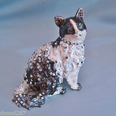 Rucinni Sitting Cat Trinket Box with Crystals Black and White NIB DN2856