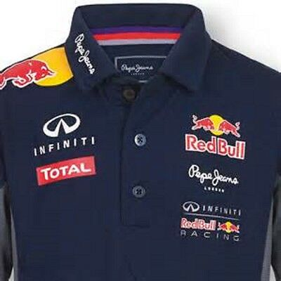 Mens Red Bull (Infinti) Pepe Official Teamline Functional Polo Shirt  Navy S-Xxl