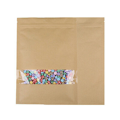 100 Zip Lock Pouches Kraft Paper Bag w/ Clear Window (Outer Size 7x10.25in) E108