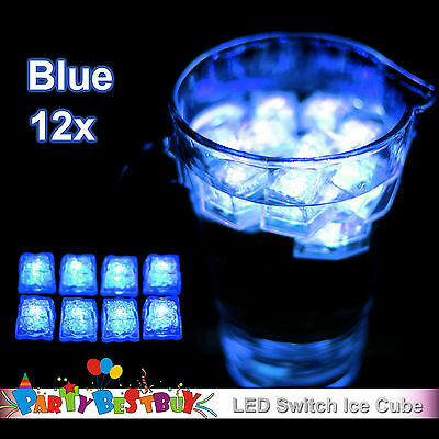 New 12X Switch Blue Ice Cube LED lights Party Wedding Christmas Decoration Glow