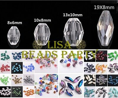 Bulk Wholesale 6mm/8mm/10mm/18mm Oval Faceted Loose Crystal Glass Spacer Beads