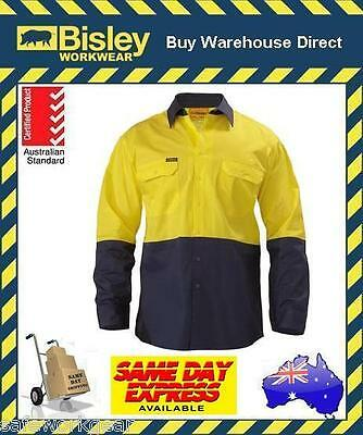 Bisley Long Sleeve Yellow/navy Hivis 2 Tone Cool Ventilated Drill Work Shirt