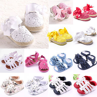 Girls Baby Infant Toddler Soft Sole Crib Shoes Flat Non-slip Pram Sandals 0-18M