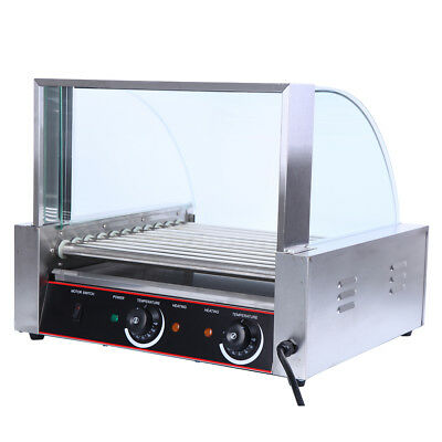 Commercial 30 Hot Dog 11 Roller Grill Cooker Machine 2200W w/ Cover & Drip tray