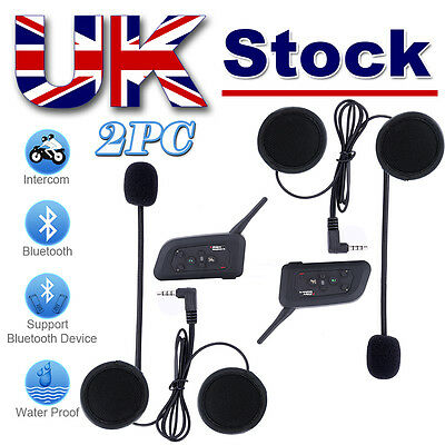 2x V4 1200M BT Interphone Bluetooth Motorcycle Helmet Multi Intercom headset FM