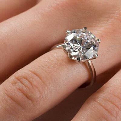 2 CT ROUND CUT SOLITAIRE CUBIC ZIRCONIA ENGAGEMENT RING 14k WHITE GOLD FINISH