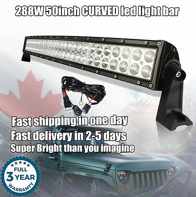 50inch LED Light Bar Curved Flood Spot Combo Offroad Truck Jeep Boat ATV UTE SUV