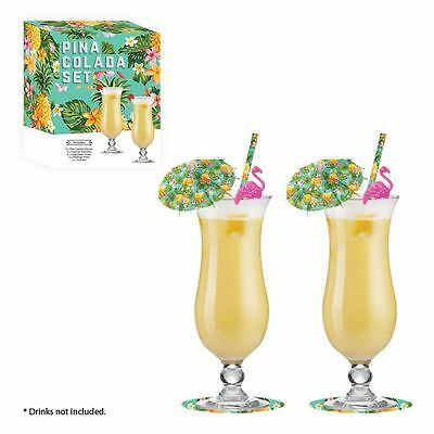 Pina Colada Boxed Cocktail Gift Set Drinking Glasses Umbrellas Flamingo Stirrers