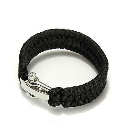 Outdoor Shackle Buckle Paracord Hiking Rope Steel Camping Bracelet Survival New
