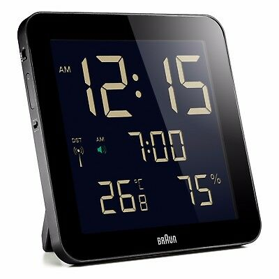 Braun Radio Controlled Digital Wall Clock - Black BNC014BK-RC