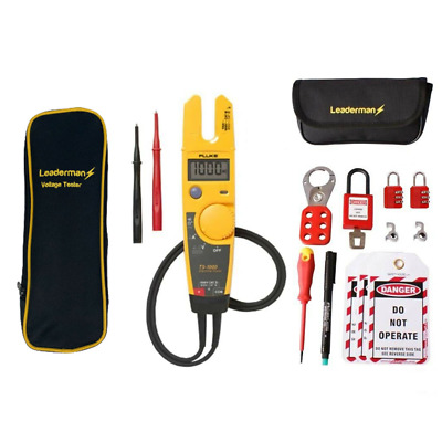 Fluke T5-1000 Voltage And Continuity Tester W/ Case And Mcb Lock Out Kit Los-K1