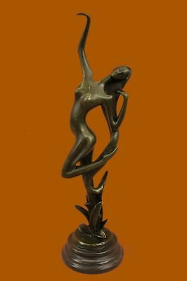 Bronze Sculpture Abstract Nude Mid Century Mod Art Statue Figurine EX
