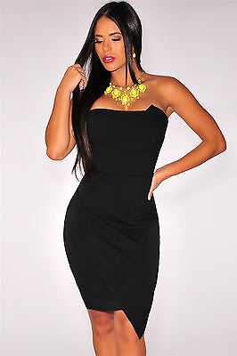 Mini Abito nero schiena aperta scollo Origami Strapless Mini dress clubwear L
