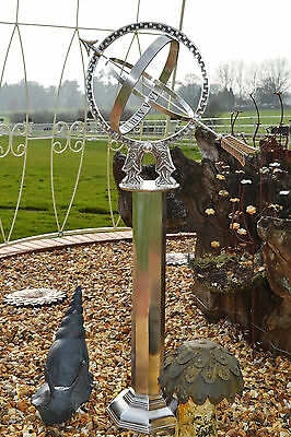 Antique Silver Freestanding Armillary Sundial Complete With Column