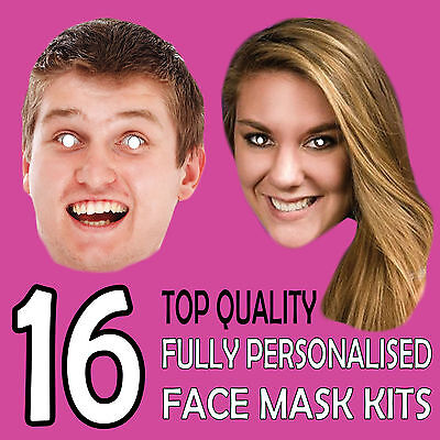 16 Personalised Custom Face Masks Send A Pic & We Suppy Print & Product!!