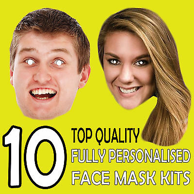 10 Personalised Custom Face Masks Send A Pic & We Suppy Print & Product!!