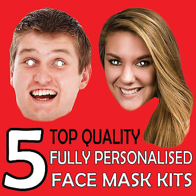 5 Personalised Custom Face Mask Kits Send A Pic & We Suppy All You Need To Diy