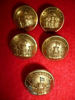 (5) x The 27th Inniskilling Regiment Gilt Officer's Buttons, 20mm dia. - Irish