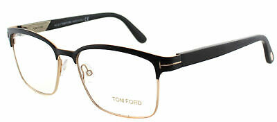 Authentic Tom Ford FT 5323 002 Matte Black And Gold Square Metal Eyeglasses