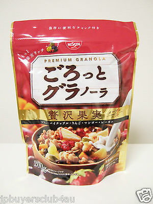 Nissin Premium Granola Japanese Sreal Rich Fruits with Maple Syrup 200g Japan